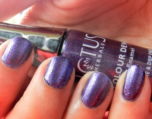 Lotus Herbals Color Dew Nail Enamel in Purple Star : Swatches & Review