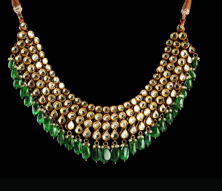 2d1d733879c 41267fba1a84bc22a27f50f6591ceb8a. A four string Kundan necklace with emerald  drops