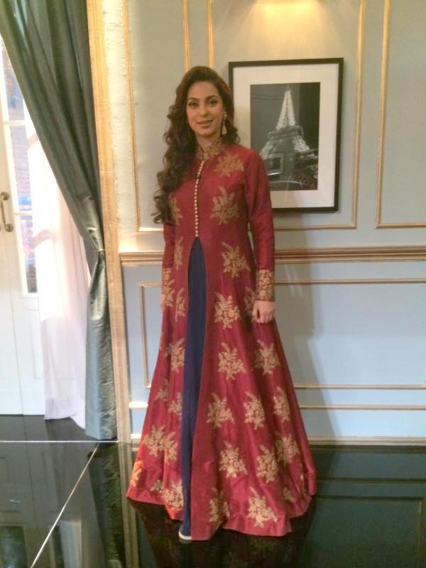 Juhi Chawla on Coffee-Karan-Red-Anarkali-jacket