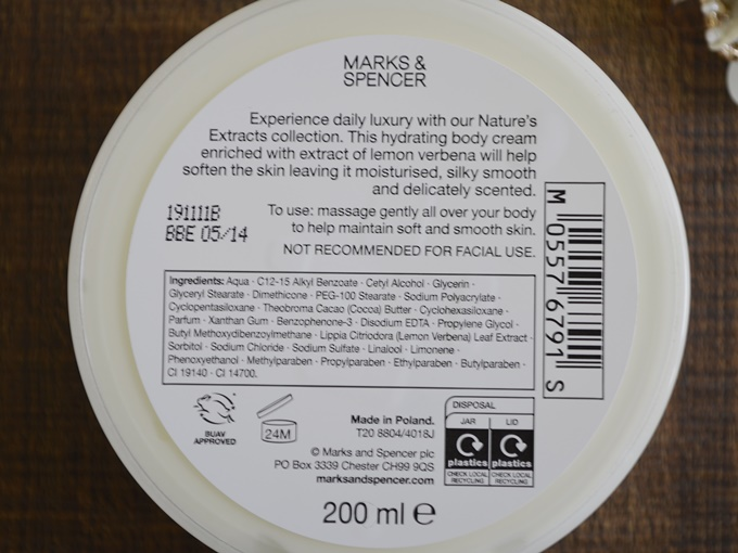 Marks & Spencer Lemon Verbena Body Moisturising Cream (1)