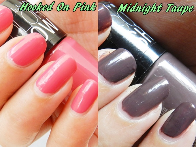 Maybelline Colorshow Nail Polish Swatches Hooked on Pink & Midnight Taupe (2)